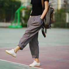 Trousers For Women Spring & Summer Women's Linen Pants Loose Trousers Female Harem Pants Striped Trousers 2 Colors