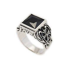 SQUARE BRILLIANT CUT ONYX 925 STERLING SILVER US SIZE MEN'S WOMEN'S RING ks-r016
