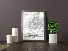 Excited to share the latest addition to my #etsy shop: Coventry map print, Minimalistic wall art poster, England gifts, Birthday Gift, For father, Father