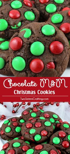 Chocolate M&M Christmas Cookies - a fun and festive dessert to bring to a Christmas Party or a Holiday Cookie Exchange. These colorful Christmas Cookies are delicious and easy to make. Pin this yummy (Creative Baking Ideas) Holiday Desserts, Holiday Baking, Holiday Treats, Holiday Recipes, Christmas Recipes, Easy Desserts, Dessert Recipes, Holiday Foods, Cookie Recipes