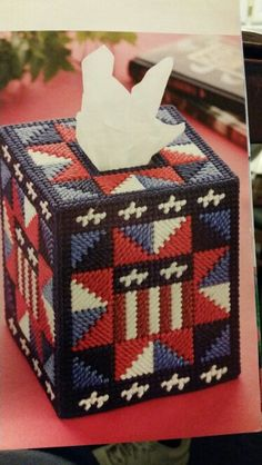 Patriotic Star Tissue Box Cover 1/2