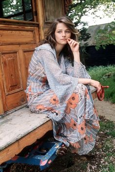 Charlotte Rampling in Glamour magazine, vintage fashion style color photo print ad sheer long maxi gown boho blue orange flowers flowing hostess dress Charlotte Rampling, 70s Fashion, Fashion Dresses, Vintage Fashion, Womens Fashion, Fashion Brands, Bohemian Mode, Bohemian Style, Bohemian Summer
