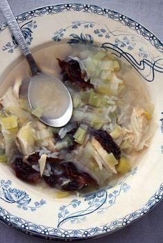 Cock-a-leekie soup (soupe écossaise aux poireaux)
