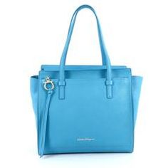 Salvatore Ferragamo Amy Tote Pebbled Leather Medium Blue 1979301