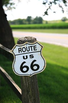 "A Route 66 shield on a fence post in the Heartland of Illinois. ""The Fine Art Photography of Frank Romeo."""
