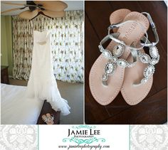 The Turtle Club | Naples Wedding Photographer | Jamie Lee Photography | Bride Getting Ready | Wedding Dress and Jeweled Sandals