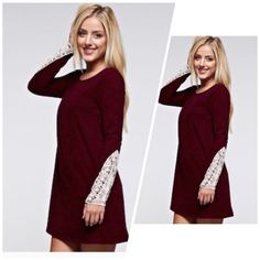 ✨LAST LARGE✨Burgundy Dress w Lace How Darling is this?! 🤗 Add some Leggings,  Boots or Booties! ❤️ Just Perfect for the Holidays!! This Tunic has a Light Stretch!  90% Polyester 10% Spandex. Made in the USA 🇺🇸                              🔹🔹🔹Available in sizes S M L If you have any questions, please feel free to ask                  😊Xo #PoshOnLadies! Bohemian Sea Dresses