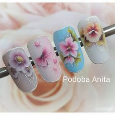 One stroke mini with gel. Fall Nail Art Designs, Beautiful Nail Designs, Floral Nail Art, 3d Nail Art, Nail Stamper, One Stroke Nails, Vintage Nails, Animal Nail Art, Nails First