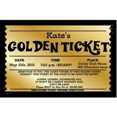 Willy Wonka Birthday Golden Ticket Birthday Invitation - Golden ...