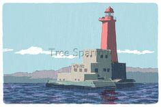 横須賀赤灯 横須賀・三浦半島の風景イラスト