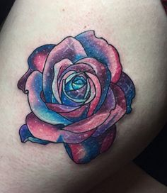 60 Creative and Cool Cosmic Tattoo Designs - TattooBlend Colorful Rose Tattoos, Coloured Rose Tattoo, Head Tattoos, Body Art Tattoos, Tattoo Art, Yarn Tattoo, Tattoo Shop, Tattoo Drawings, Tatoos
