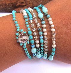 Crochet beaded wrap bracelet rain aqua lariat boho by CoffyCrochet  SOLD