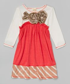 Love this Coral & Ivory Stripe Rosette Babydoll Dress - Toddler & Girls by Vanilla Crème on #zulily! #zulilyfinds