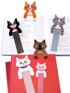 """A perfect quick-to-stitch gift for all ages and occasions, these adorable kitties are functional and sweet at the same time! Made with 10- or 7-count plastic canvas using sport- or worsted-weight yarns.  Finished sizes:  Large bookmark: 3""""W x 8 ..."""