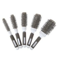 5 Sizes To Choose Gray Hair Durable Ceramic Ionic Round Combs Iron Radial Brushes Salon Barbershop Home Use Hair Styling Tools