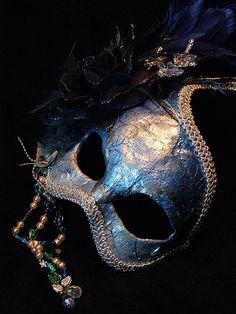 Uniquekerer, Goldfishdreams, Handmade, Crafted, Cute, OOAK, Mask, Masquerade, Masked Ball, Disguise, Venetian, Ornate, Costume, Beautiful, Blue