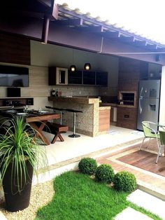 Some beautiful BBQ grill design ideas for your patio will help you to get something out of the ordinary. Now you can give an excellent impression to your patio. This extraordinary idea is one form that you need to design… Continue Reading → Outdoor Spaces, Outdoor Living, Outdoor Decor, Balkon Design, Garden Landscape Design, Landscaping Design, Garden Landscaping, Grill Design, Outdoor Kitchen Design