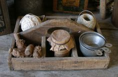Primitive wood carrier box full of fun primitives!!