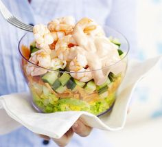 Prawn layered salad. Solo lunches can still be a treat with this fast but flavour-packed recipe