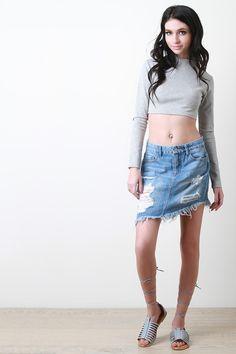b999473547 Asymmetrical Ripped Denim Skirt Cochella Outfits, Ripped Denim Skirts,  Clothes, Dress Skirt,