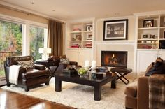 Shelving by fireplace. Houzz