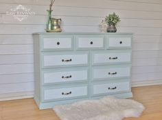 Fusion Mineral Paint 'Inglenook' Dresser.  Painted white panels on the drawers.  www.rawrevivals.com.au