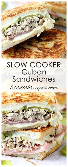 Slow Cooker Cuban Sandwiches - Slow cooked pulled pork, sliced ham, Swiss cheese, pickles and mustard, sandwiched between crusty bread slices and grilled to perfection. Kubanisches Sandwich, Cuban Pork Sandwich, Sandwich Recipes, Sandwich Ideas, Lunch Recipes, Slow Cooked Pulled Pork, Pulled Pork Recipes, Cuban Recipes, Italian Recipes