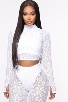 Lux Leopard Mesh Active Long Sleeve Crop Top White - Available In Black And White Cut Out Detailing To Increase Airflow Half Zip Cropped Jacket Mock Neck Designed For Studio, Training And Athleisure Performance Sports Top Pair With Catsuit, Lace Dress Black, Business Dresses, Spandex, Active Wear For Women, African Women, White Fashion, Long Sleeve Crop Top, Swagg