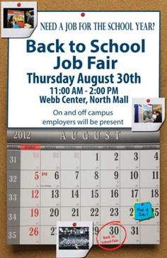 ODU Students... Need a Job for the School Year? Come join us at our ODU Back to School Career Fair Thursday, August   30th, 11:00 AM - 2:00 PM   Webb Center, North, Old Dominion University     Please register for this event online.  Log into your ODU CareerLink account: http://www.odu.edu/cmc