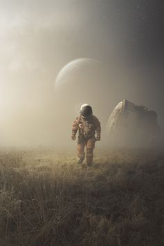 These reality-defying fine art images captures scenes of our galaxy and its place in the cosmos. Cosmos, Arte Sci Fi, Sci Fi Art, Digital Art Illustration, Astronaut Illustration, Art Pulp, Sci Fi Kunst, Matte Painting, Foto Art