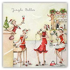 "Cards "" Jingle Belles "" - Berni Parker Designs ღ✟ Vintage Christmas Cards, Christmas Pictures, Xmas Cards, Christmas Art, Christmas Greetings, Christmas And New Year, Illustration Noel, Illustrations, Crazy Friends"