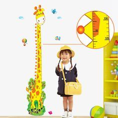 Animal Height Measure Giraffe Kids Growth Chart  Wall Sticker For Kids Rooms DIY Home Decoration Baby bedroom wallpaper