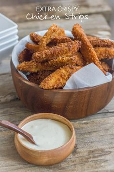 Crispy, crunchy, perfectly seasoned chicken strips.  Looks delicious!