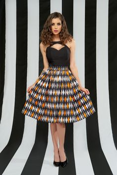 Pinup Couture Jenny Skirt in Halloween Harlequin Print | Pinup Girl Clothing