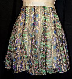American Eagle Short length skirt sheer lined floral purple green/Gold Threading #AmericanEagleOutfitters #FlareSkirt