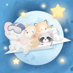 Lindo animal volando en la luna Vector P. Anime Animals, Baby Animals, Cute Animals, Boat Cartoon, Cute Cartoon, Little Elephant, Cute Elephant, Cute Animal Illustration, Animal Illustrations