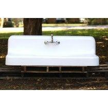 Antique 5 Ft 1929 Kohler Cast Iron High Back Double Drainboard Farmhouse  Apron Sink Refinished