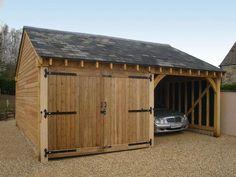 two bay oak garage Double Garage Door, Boat Garage, Pole Barn Garage, Carport Garage, Garage Plans, Detached Garage, Garage Ideas, Door Ideas, Car Shed