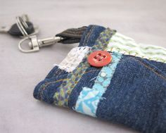 Repurposed jeans keychain wallet, Earth friendly hand sewn headphones organiser, Rustic keyring cards purse, Fabric headphones case by sewingfairydust on Etsy