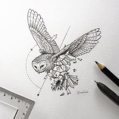 Geometric Owl Tattoo Designs - Geometric Owl Tattoo Design Tattoos on Brilliant Owl Tattoo Design Ideas That Youll Insp Owl Tattoo Design, Tattoo Designs, Tattoo Ideas, Design Tattoos, Buho Tattoo, Et Tattoo, Geometric Drawing, Geometric Shapes, Geometric Animal