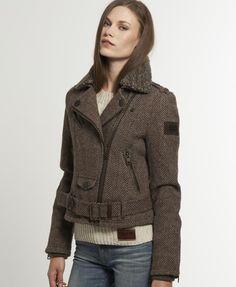 Womens - Horserider Jacket in Brown Herringbone | Superdry