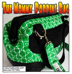 "Mommy Poppins Bag Pattern - a ""carpetbag"" style shoulder bag that uses a internal purse frame for the opening."