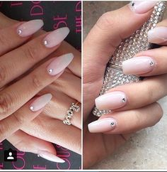 False nails Natural nails pink nails by CrystalNailBoutique