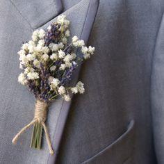 Baby's Breath & Lavender boutonniere with twine Floral Wedding, Diy Wedding, Wedding Bouquets, Dream Wedding, Wedding Day, Flower Bouquets, Wedding Lavender, Wedding Centerpieces, Lavender Centerpieces