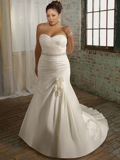 Elegant Plus Dresses For Women | plus size wedding dresses with beaded belt, elegant bridal gown