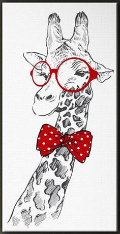 Beautiful picture of a giraffe with red round glasses and bow tie Giraffe Drawing, Giraffe Painting, Giraffe Art, Cute Giraffe, Animal Paintings, Animal Drawings, Art Drawings, Tableau Pop Art, Painting & Drawing