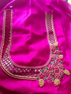 Sewing clothes women blouses fabrics 61 ideas for 2019 Cutwork Blouse Designs, Wedding Saree Blouse Designs, Simple Blouse Designs, Embroidery Neck Designs, Stylish Blouse Design, Saree Blouse Neck Designs, Border Embroidery, Blouse Patterns, Cut Work Blouse