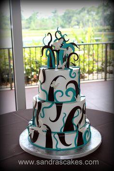 Swirls and butterflies wedding cake