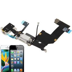 [USD2.42] [EUR2.18] [GBP1.69] High Quality Version Tail Connector Charger Flex Cable + Headphone Audio Jack Ribbon Flex Cable for iPhone 5 (White)