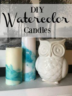 painting with nail polish ~ a quick fun and easy kids craft ~ DIY watercolor mugs ~ DIY watercolor candles
